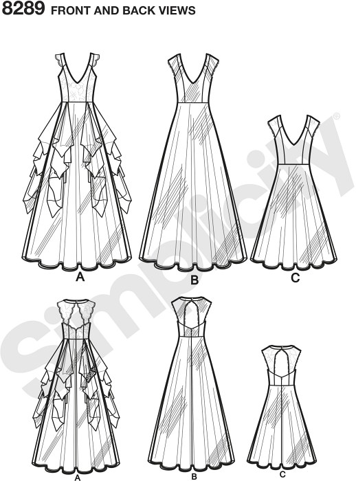 Whether you're the bride, bridesmaid or attendee, these Leanne Marshall special occasion dresses are perfect for your next event. Dress features princess seam bodice with or without lace overlay with gallon lace back interest. Skirt can also be made with or without drapes in various lengths. Simplicity sewing pattern. Available as a printable pattern—for more information, see Printable Sewing Patterns.