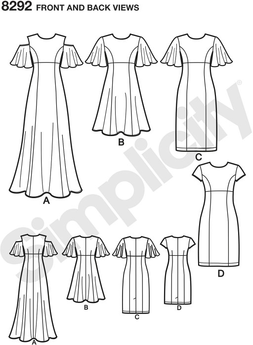 """This Petite dress features three different sleeve options, princess seams, invisible back zipper, lined bodice and your choice of either long flare or pencil cut each in two lengths. Simplicity sewing pattern. """""""