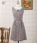 """Gertrude Made vintage-inspired dress by Cathi Bessel Browne. Style is perfect for printed fabric and includes contrasting sash or collar and tabs. Simplicity sewing pattern.""""."""
