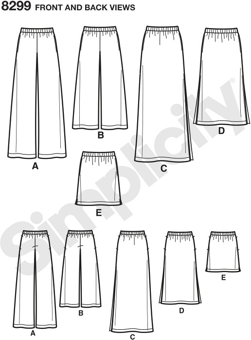These easy-to-sew pants and skirts with length variations are must-have staples for your wardrobe. Includes long or cropped pants, and midi or mini length skirt with side slits. All have side pockets.andnbsp;Simplicity sewing pattern.