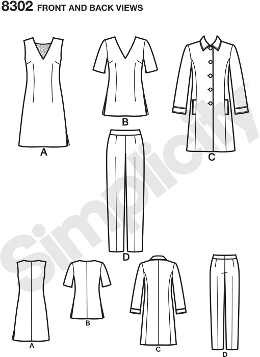 Misses´ and Plus Size clean and classic wardrobe includes a top, slim fit pants, and a stylish unlined coat. The top can be made to wear as a dress with a left side slit, or as a tunic with side slits. Simplicity sewing pattern.