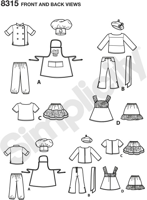 Make these fun chef outfits with a Parisian influence for your 18 inches doll. Pattern features chef coat, pants, hat and cupcake apron, 2-piece outfits with tee shirts and sailor pants or skirts, and a 2-piece dress with slip. Also includes beret and necktie. Simplicity sewing pattern.