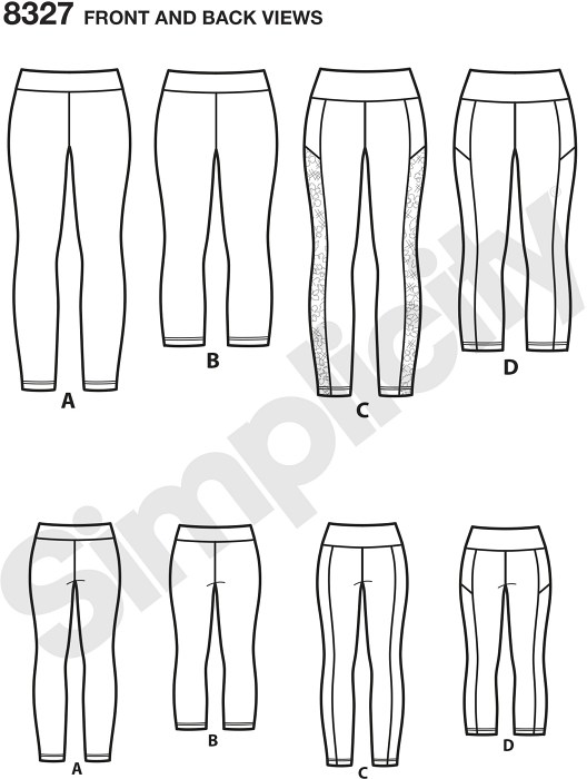 Plus Size knit leggings in sizes 1X through 5X are a wardrobe essentialandmdash;perfect for active wear fabrics, or fashion knits. Pattern features ankle or cropped lengths with optional contrast side panels. Simplicity sewing pattern.