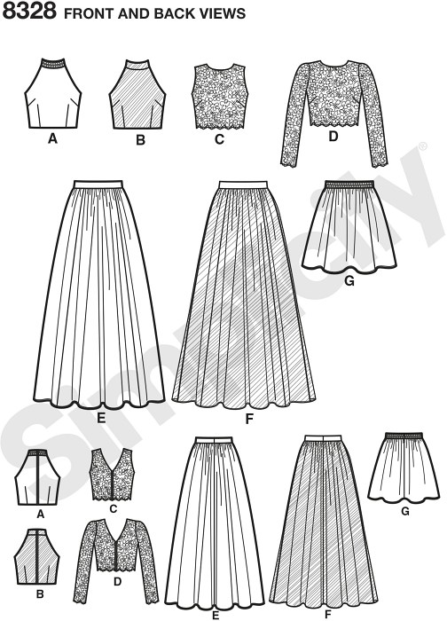 Create endless mix-and-match options for any special event. Stylish 2-piece dress pattern offers skirts in two lengths and three different top options.
