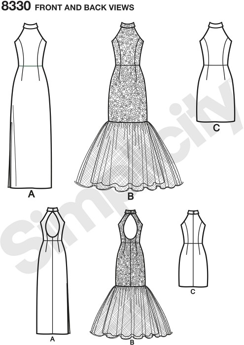 Arrive at your next special occasion in a gorgeous open back mermaid style gown or choose a classic little black dress. This pattern is versatile enough to give you both looks.