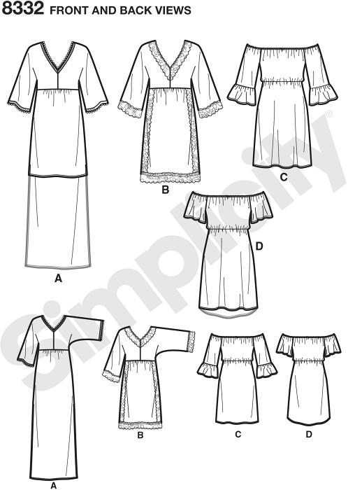 Misses easy to sew dress with trim, length and neckline variations. Customize yours with trimmings.
