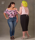 Ashley Nell Tipton designed these knit bodysuits sized 18W through 34W to fit and flatter your lifestyle. Available as a tank top with a V-neck in front, low scoop in back, and as an off-the-shoulder style with sleeve variations, optional halter ties and flounce.