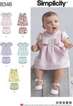 Simplicity 8346. Babies´ Dress and Panties.