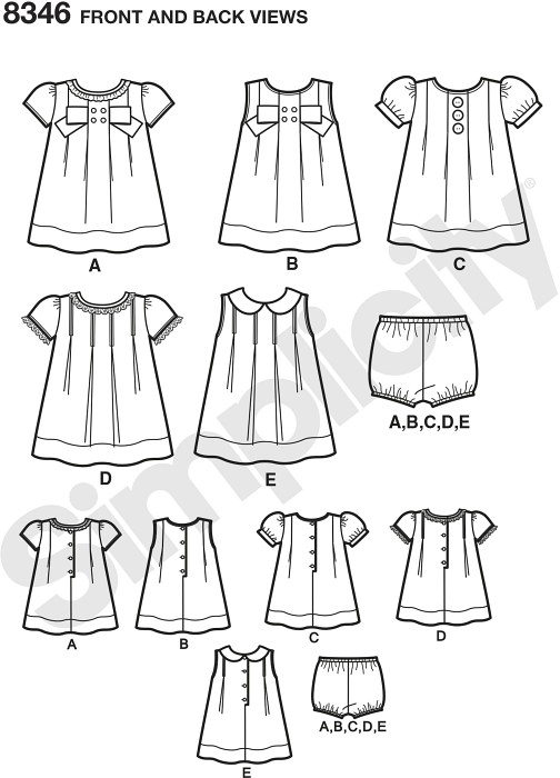 Adorable baby dresses are perfect for spring and summer holidays. Pattern features five dresses with sleeve variations, plus a set of panties. Details include decorative front buttons, large bow, and/or trim along neckline and sleeves.