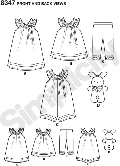 Create these toddler outfits plus an adorable stuffed bunny. Pattern includes toddlers´ dress, top, knit capris, romper and stuffed bunny.
