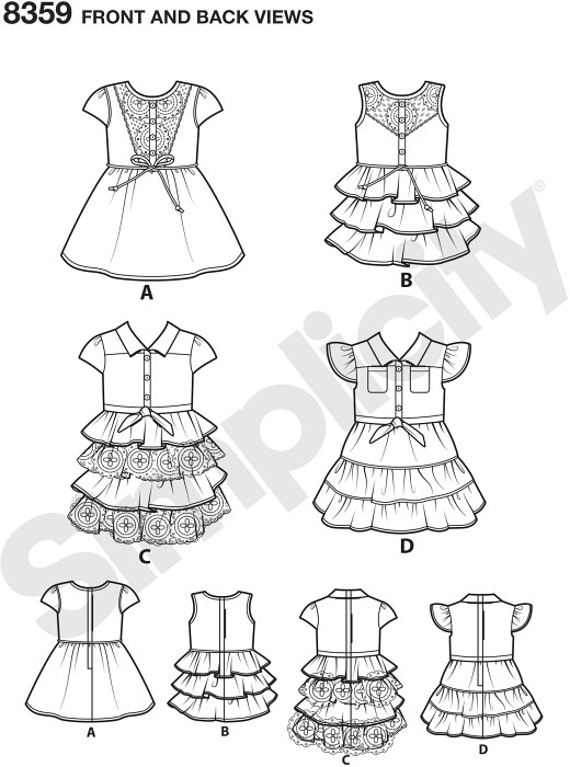 American Girl doll clothes for 18 inches dolls. Modern western dresses have button down bodice, short sleeve or sleeveless, with or without collar. Skirt options are tiered, ruffled or circle. Matching outfits for a child are available.