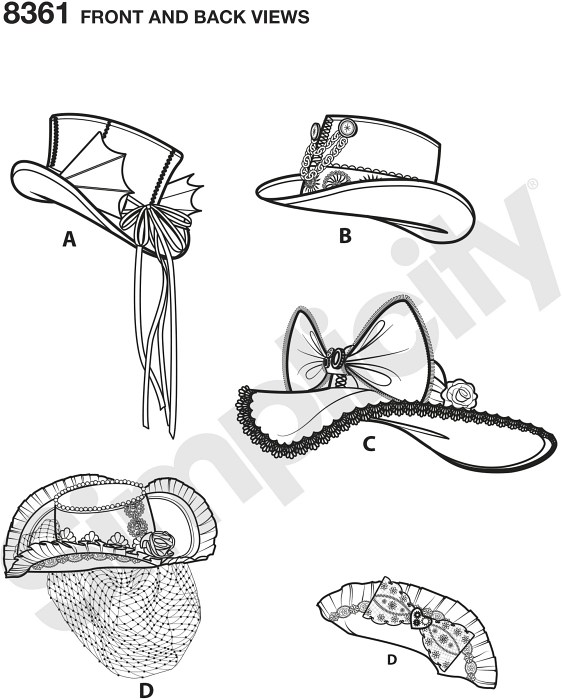Hats by Arkivestry help you add that extra special touch to your costume. This pattern offers four stylesandmdash;a top hat with detachable hat band, steampunk topper, wide brim hat.