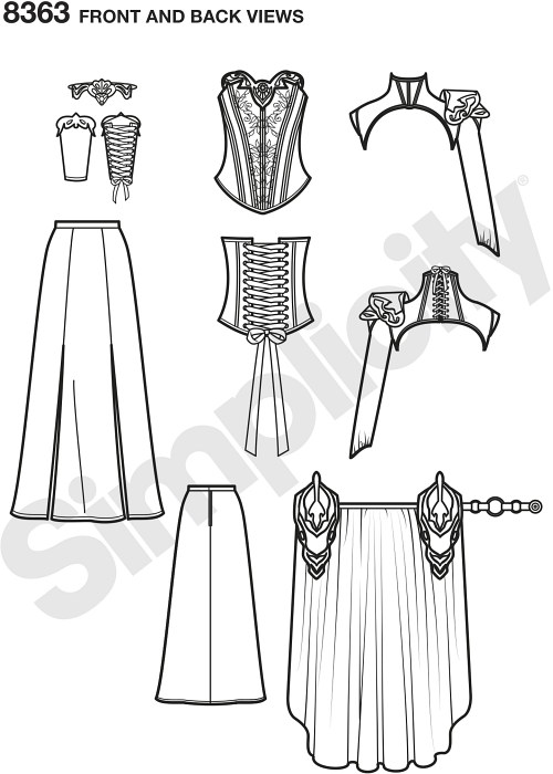 Sew this fierce fantasy ranger costume to wear to your next party or cosplay event. Pattern features a neck corset, corset, skirt, waistbands and gauntlet. Complete the look with a craft foam armor and crown, complete instructions and material requirements are included.