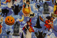 Lavendar-blue halloween-jersey with pumpkins etc.