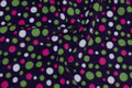 Deep purple fleece with green and white and pink dots