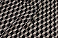 Micro-polyester with graphical pattern in black and grey and white
