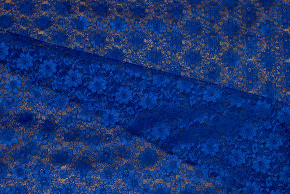 Lightweight, cobolt-blue polyester-lace without stretch