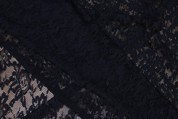 Black polyester lace without stretch