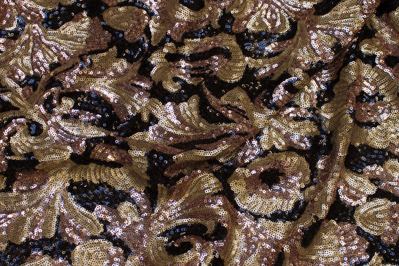 Eksklusivt sequins-fabric with mini-sequins in gold, cobber and black