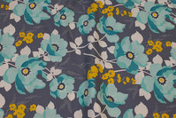 Blue-grey cotton with turqoise 6 cm flowers.