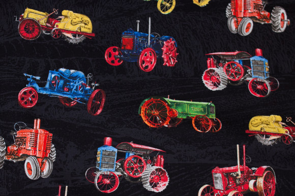 Black cotton with vintage tractors