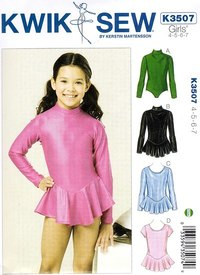 Classic gymnastics suit for girls. Kwiksew 3507.