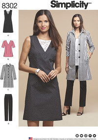 Dress or Tunic, Slim Pants and Unlined Coat. Simplicity 8302.