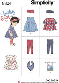 Babies´ Leggings, Top, Dress, Bibs and Headband. Simplicity 8304.