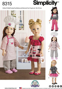 18 inches Chef Doll Clothes. Simplicity 8315.