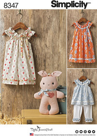 Toddlers´ Dress, Top, Knit Capris, and Stuffed Bunny. Simplicity 8347.