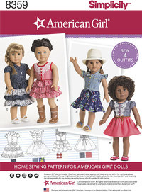 18 inches American Girl Doll Clothes. Simplicity 8359.