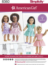 18 inches American Girl Doll Clothes. Simplicity 8360.