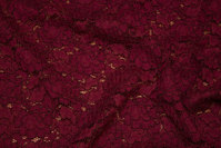 Beautiful wine-red dress-lace-fabric with scallop edge in both sides