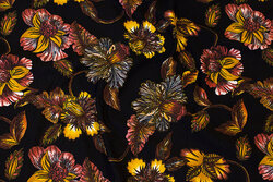 Black viscose-jersey with ca. 8 cm golden flowers