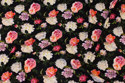 Black viscose-jersey with roses