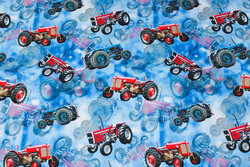 Blue cotton-jersey with 6-7 cm red tractors