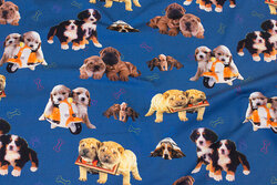 Blue cotton-jersey with puppies