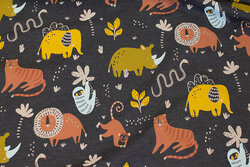 Charcoal jersey with wild animals