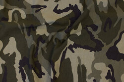 Cotton-jersey in camouflage pattern in dust-green nuances