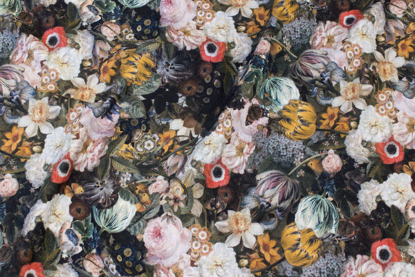 Cotton-jersey with flowers in dusty nuances