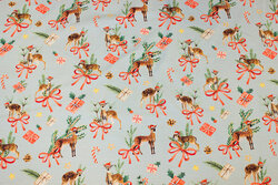 Light dusty-green cotton-jersey with ca. 5 cm deer