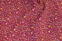 Light wine-red baby corduroy with leaves and flowers