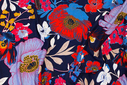 Navy viscose-jersey with ca. 14 cm big flowers