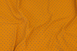 Ocher-yellow cotton-jersey with blue mini-dots