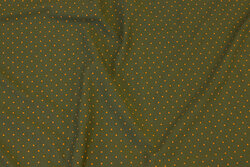 Olive-colored cotton-jersey with orange mini-dots