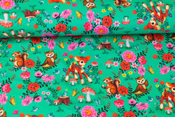 Organic, clear green cotton-jersey with cute forest-animals