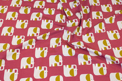 Organic, rasberry-red cotton-jersey with elephants