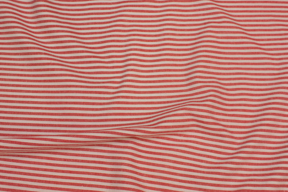 Red and white, narrow-striped, through-woven lightweight cotton