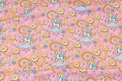Soft red cotton-jersey with ca. 5 cm unicorns