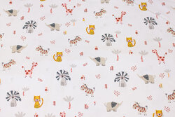 White cotton-jersey with small animals